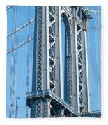 New York City Manhattan Bridge And Skyline Fleece Blanket