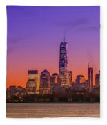 New York City Manhattan Midtown Panorama At Dusk With Skyscraper Fleece Blanket