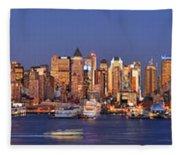 New York City Midtown Manhattan At Dusk Fleece Blanket