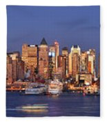 New York City Midtown Manhattan At Dusk Fleece Blanket