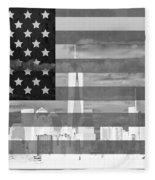 New York City On American Flag Black And White Fleece Blanket