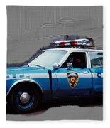 Vintage New York City Police Car 1980s Fleece Blanket