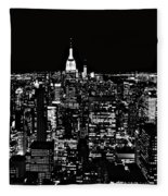 New York City Skyline At Night Fleece Blanket
