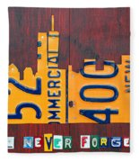New York City Skyline License Plate Art 911 Twin Towers Statue Of Liberty Fleece Blanket