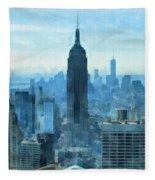New York City Skyline Summer Day Fleece Blanket