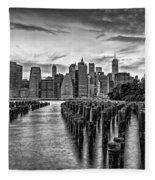 New York City Skyline Sunset Hues Bw Fleece Blanket