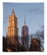 New York City Skyline Through The Trees Fleece Blanket