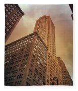 New York City - Skyscraper And Storm Clouds Fleece Blanket