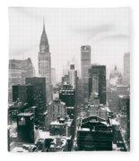 New York City - Snow-covered Skyline Fleece Blanket