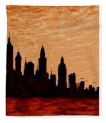 New York City Sunset Silhouette Fleece Blanket