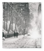 New York City - Winter Night In The Snow At Washington Square  Fleece Blanket by Vivienne Gucwa