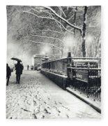 New York City - Winter - Snow At Night Fleece Blanket