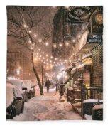 New York City - Winter Snow Scene - East Village Fleece Blanket by Vivienne Gucwa