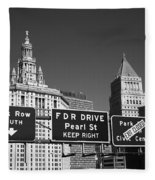 New York City With Traffic Signs Fleece Blanket