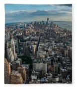 New York From A Birds Eyes - Fisheye Fleece Blanket