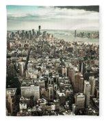New York From Above - Vintage Fleece Blanket