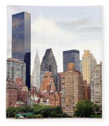 New York From Roosevelt Island Fleece Blanket