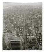 New York From The Trade Towers Fleece Blanket