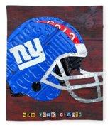 New York Giants Nfl Football Helmet License Plate Art Fleece Blanket