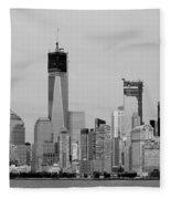 New York Harbor In Black And White Fleece Blanket