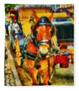 New York Horse And Carriage Fleece Blanket