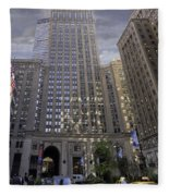 New York In Vertical Panorama Fleece Blanket