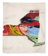 New York Map Art - Painted Map Of New York Fleece Blanket
