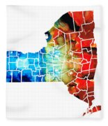 New York - Map By Sharon Cummings Fleece Blanket