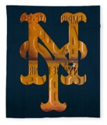 New York Mets Baseball Vintage Logo License Plate Art Fleece Blanket