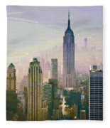 New York Misty Morning Fleece Blanket