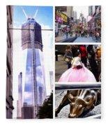 New York Nyc Collage Fleece Blanket