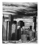 New York Pano Bw I Fleece Blanket
