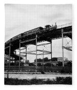 New York Railroad Bridge Fleece Blanket