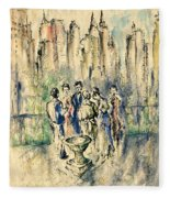 New York Roof Party - Watercolor Ink Fleece Blanket