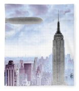 New York Skyline And Blimp Fleece Blanket