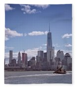 New York Skyline And Boat Fleece Blanket