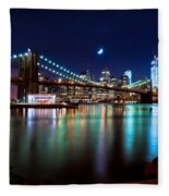 New York Skyline And Brooklyn Bridge With Crescent Moon Rising Fleece Blanket