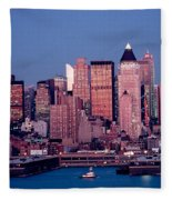 New York Skyline At Dusk Fleece Blanket
