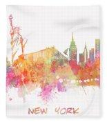 New York Skyline City Fleece Blanket