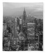 New York Skyline Panorama Bw Fleece Blanket