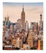 New York Skyline Panorama Fleece Blanket
