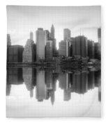 New York Skyline Sunset Bw Fleece Blanket