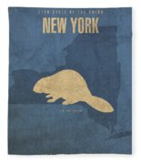 New York State Facts Minimalist Movie Poster Art  Fleece Blanket