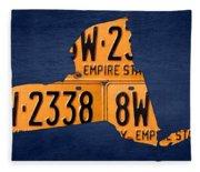 New York State License Plate Map Fleece Blanket