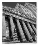 New York Stock Exchange Wall Street Nyse Bw Fleece Blanket