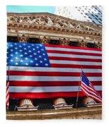 New York Stock Exchange With Us Flag Fleece Blanket