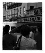 New York Street Fair - Black And White Fleece Blanket