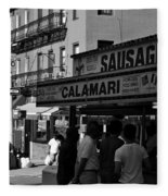 New York City Street Fair - Calamari Sausage - Black And White  Fleece Blanket