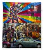 New York Street Scene Fleece Blanket