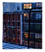 New York Window - Fire Escape In Winter Fleece Blanket